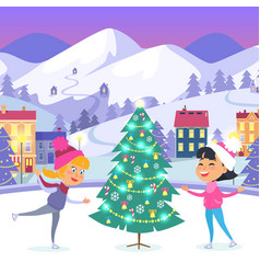 happy children on icerink near christmas tree vector image