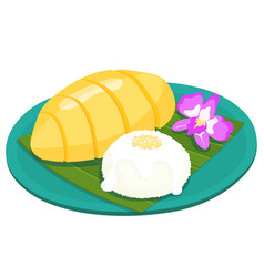 mango with sticky rice thai dessert vector image vector image