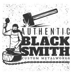 monochrome vintage blacksmith template vector image