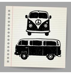 Retro Tropical Happy Hippie Micro Surfboard Bus vector image