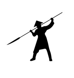 samurai warriors silhouette with pike vector image