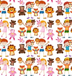 Seamless background with kids and puppets vector image