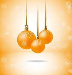 Set of three gold christmas balls with snowflakes vector image vector image