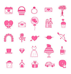 wedding outline icons vector image