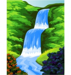 beautiful waterfall vector image vector image