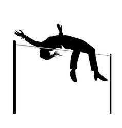 businesswoman high jump silhouette vector image vector image