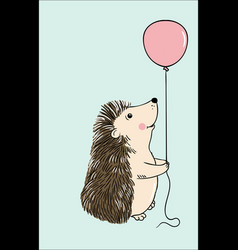 cute hedgehog sitting with pink balloon vector image