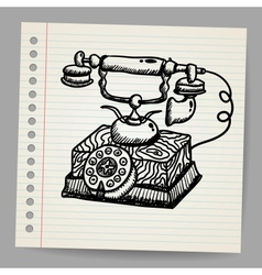 Doodle vintage phone vector image vector image