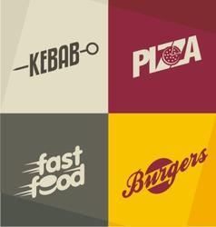 Fast food logos vector image vector image