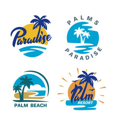 palm trees round emblems vector image vector image
