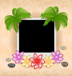 Photo frame with palm flowers sea pebbles vector image vector image
