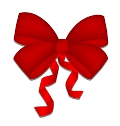 Realistic beautiful red bow isolated on white vector image