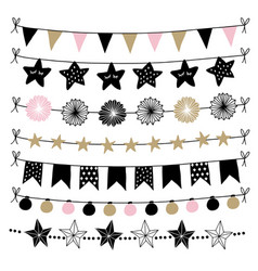 set of birthday new year decorative borders vector image