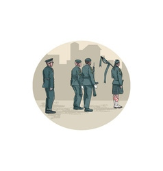 Soldier Bagpiper Marching Circle Watercolor vector image vector image