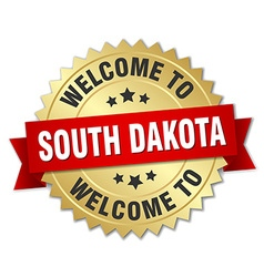 South Dakota 3d gold badge with red ribbon vector image