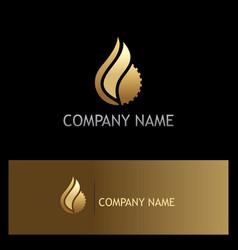 water drop gear gold logo vector image
