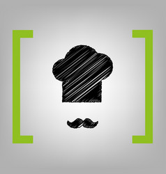 chef hat and moustache sign black vector image