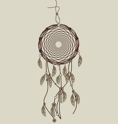 Hand drawn native american dreamcatcher with vector