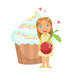 happy young girl standing nearby a huge capkake vector image vector image