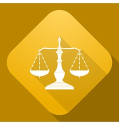 icon of Old Scales with a long shadow vector image vector image