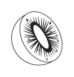 kiwi tropical fruit icon thin line vector image