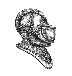 Knight helmet sketch vector image vector image