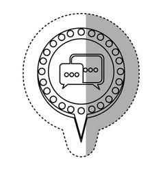 monochrome sticker with dialogue in circular vector image vector image