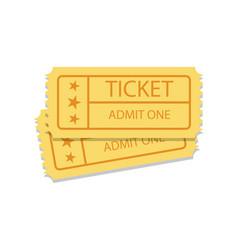 pair of golden vintage cinema tickets vector image