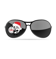 sunglasses with cute animal and christmas clock vector image vector image