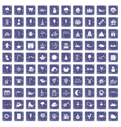 100 childrens parties icons set grunge sapphire vector