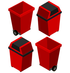 3d design for trashcan in red color vector image