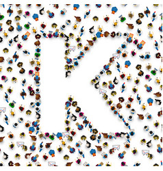 A group of people in english alphabet letter k vector