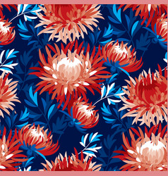 Abstract chrysanthemum floral seamless pattern vector