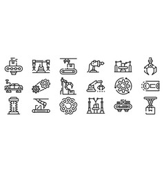 Assembly line icons set outline style vector