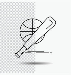 baseball basket ball game fun line icon on vector image