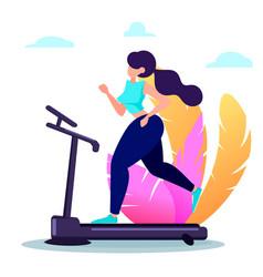 Beautiful woman running on treadmill vector