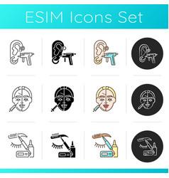 beauty parlor procedures icons set vector image
