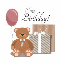 Birthday with teddy bear balloon vector