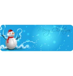 Blue Chrismas banner with snowman vector