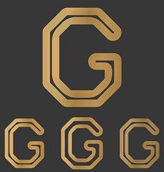 Bronze line letter g logo design set vector image