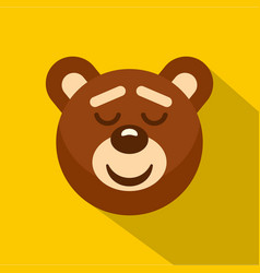 Brown teddy bear head icon flat style vector