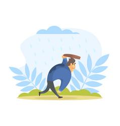 businessman running under rain in street vector image
