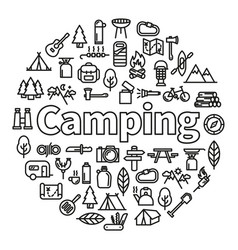 Camping word with icons vector