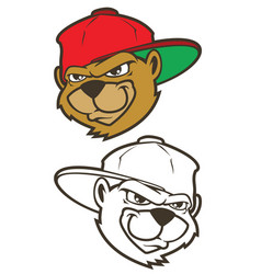 Cartoon bear character with cap vector