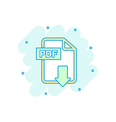 cartoon colored pdf download icon in comic style vector image
