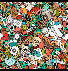 cartoon cute doodles hand drawn medicine seamless vector image