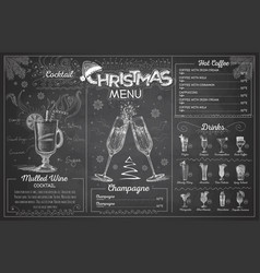Chalk drawing christmas menu design with champagn vector