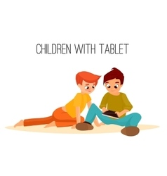 Children girls different ages played in tablet vector