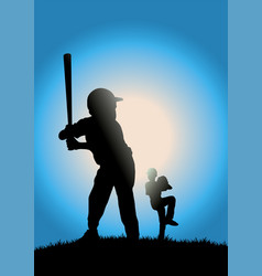 children playing baseball vector image