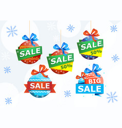 christmas sale stickers isolated on white vector image